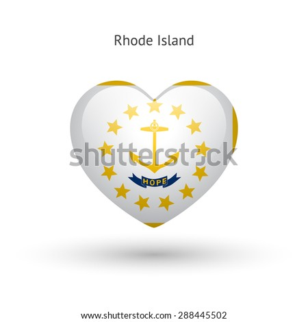 Love Rhode Island state symbol. Heart flag icon. Vector illustration. - stock vector