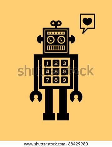 love robot doodle - stock vector