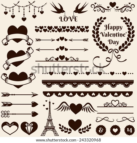 Love romance wedding decorations set collection stock vector love romance and wedding decorations set collection of elements for valentines greeting cards junglespirit Choice Image