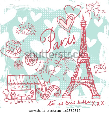 Love & romance in Paris background  - stock vector