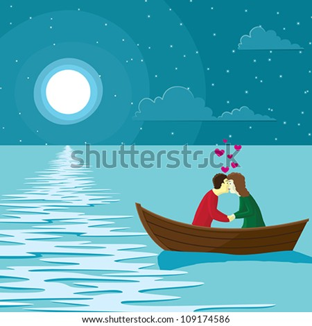 Love scene -  Vector illustration of a couple in love on a boat. - stock vector
