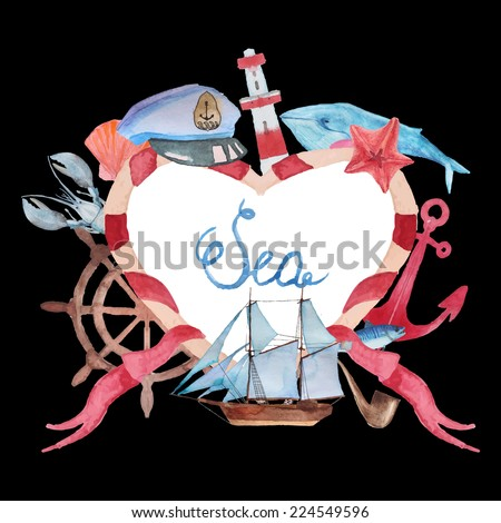 Love sea. Watercolor hand painted ribbon heart frame. Nautical background with vintage realistic elements: fish, anchor, whale, lighthouse, lobster and shell. - stock vector