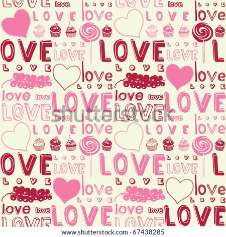 Love seamless background - stock vector