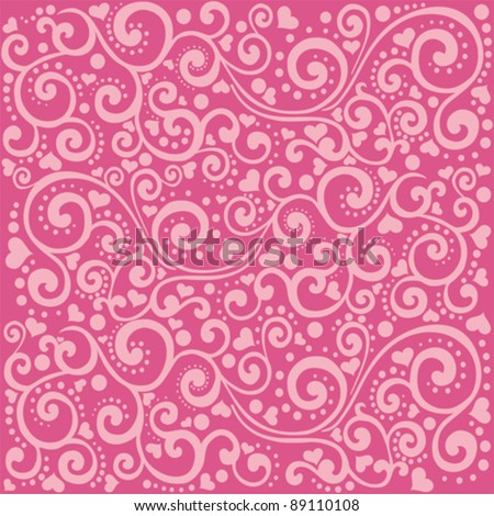love seamless pattern. Abstract heart background in pink. Vector Illustration - stock vector