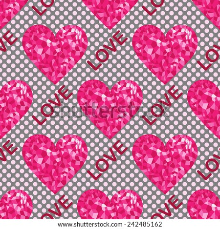 Love seamless pattern, background with hearts and text. Pop-art style. Vector illustration - stock vector