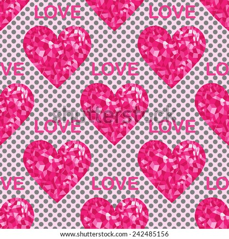 Love seamless pattern, backgrounds with hearts and text. Pop-art style. Vector illustration - stock vector