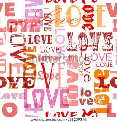 Love seamless pattern, vector illustration - stock vector