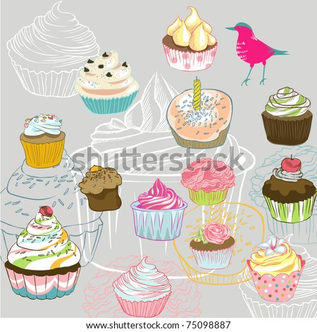 love seamless pattern with birds and cupcake - stock vector