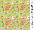 Love seamless texture with flowers and birds, endless floral pattern. - stock vector