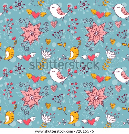 Love seamless texture with flowers and birds, endless floral pattern.