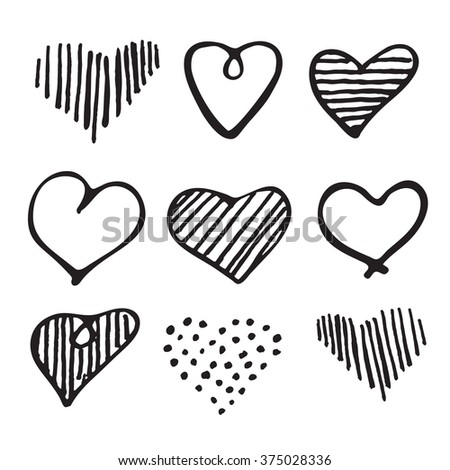 Love set unique hand drawn icons romantic doodle hearts for Valentines Day and Wedding, invitation card background, wrapping paper and design  - stock vector