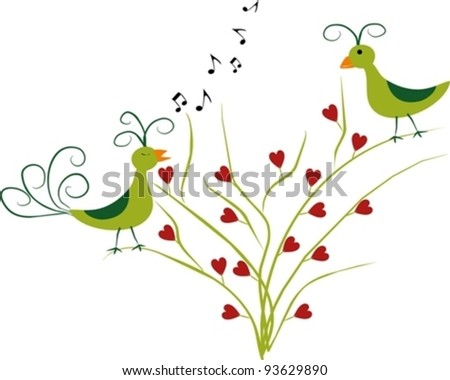 love singing birds on a branch - stock vector