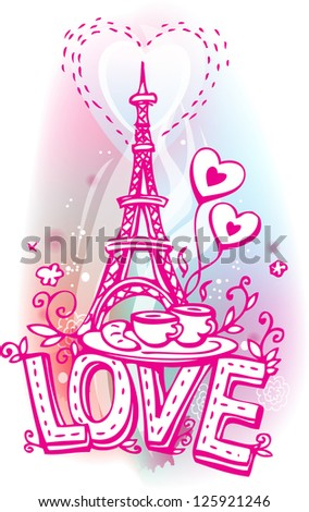 Love sketchy with Eiffel tower, coffee and croissant - stock vector