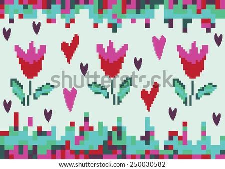 love spring tulip pixel - stock vector