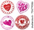 Love stamps for love letters - stock vector