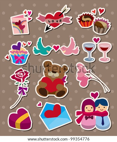 love ,stickers - stock vector