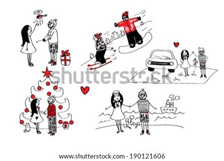 love story - stock vector