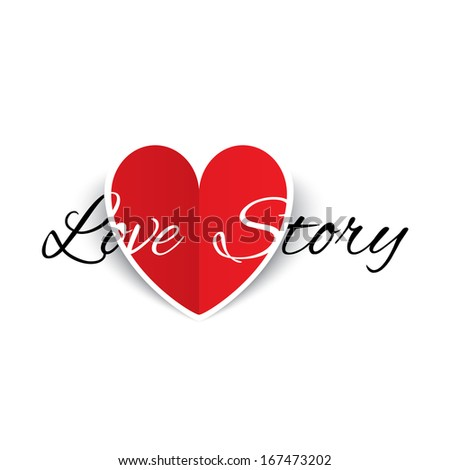 Love story paper heart sign. Red paper heart Valentines day card. Vector illustration