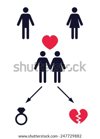 love story pictogram with two alternative finals � vector illustration - stock vector