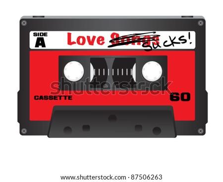 Love Sucks Cassette Tape - stock vector