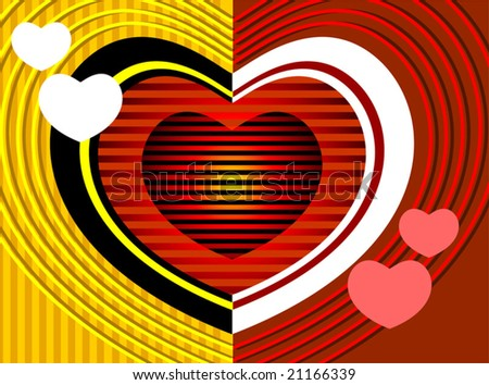 love symbol deign in yellow and red background - stock vector