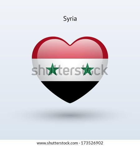 Love Syria symbol. Heart flag icon. Vector illustration. - stock vector
