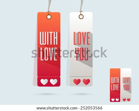 Love tags with hearts for Happy Valentines Day celebration on shiny sky blue background. - stock vector
