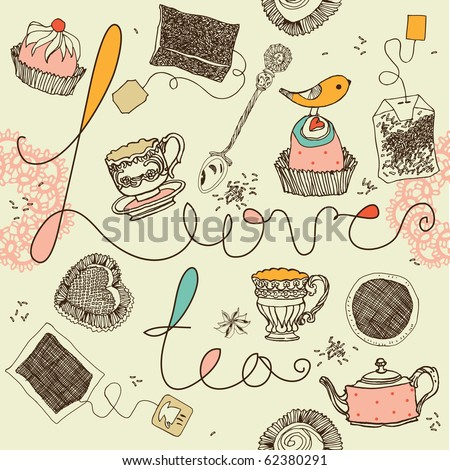love tea background - stock vector