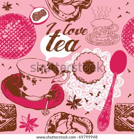love tea background - stock vector