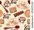 love tea seamless background - stock vector