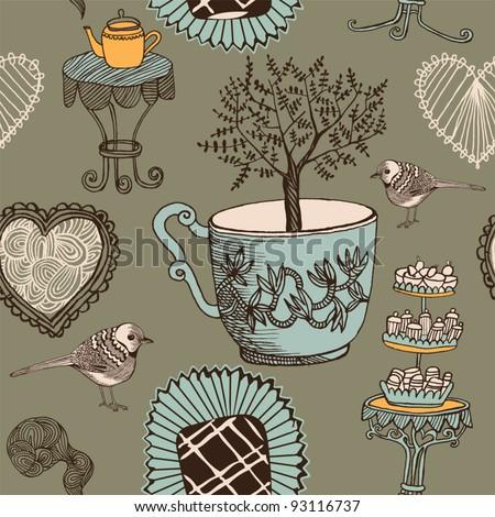 love tea seamless background with bird - stock vector