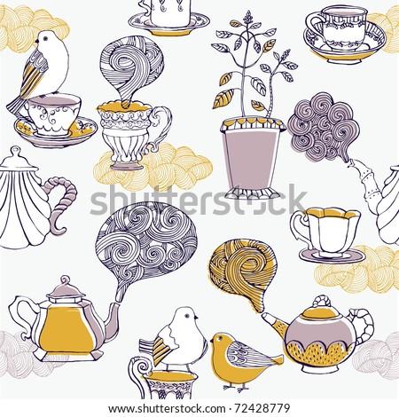 love tea. seamless pattern - stock vector