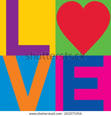 Love text design with a heart symbol in a minimalist checked design. - stock vector
