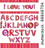 Love the alphabet with a heart letters. I love you. - stock photo