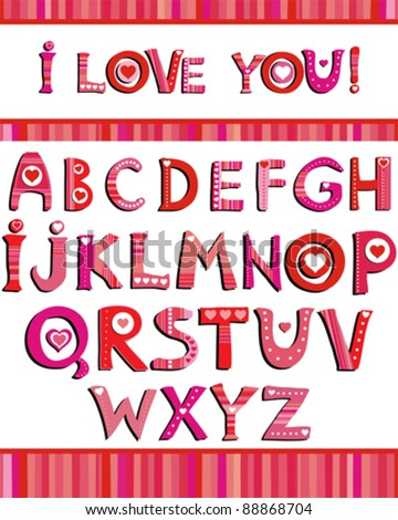 Love the alphabet with a heart letters. I love you. - stock vector