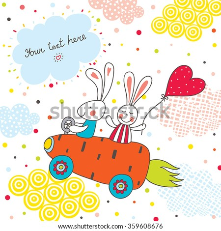 Love the bunnies travel to the carrot car. Cute vector illustration. - stock vector