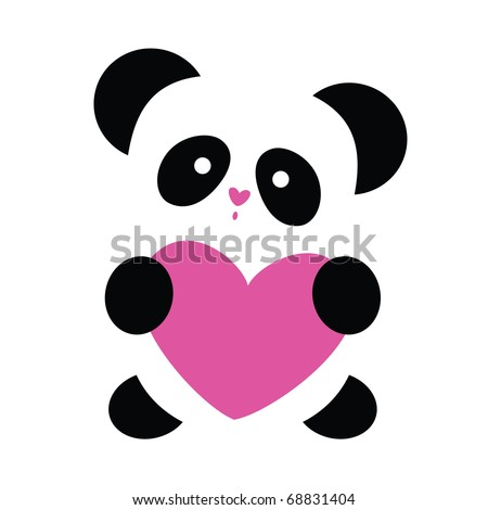 love the panda with the heart on a white background - stock vector