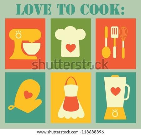 love to cook card design. vector illustration - stock vector