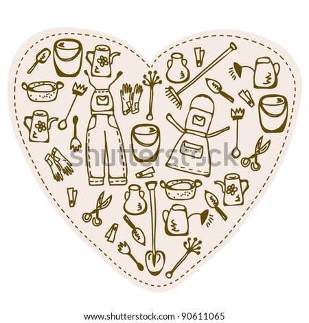 Love to gardening - tools heart - stock vector
