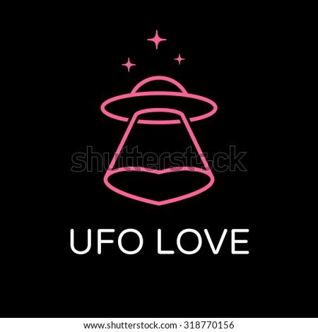 Love to UFOs. Concept of logo - stock vector