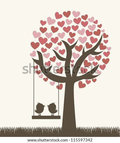 love tree with two birds, vintage style. vector illustration - stock vector