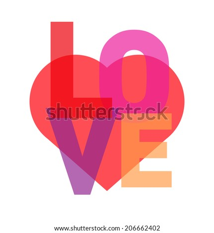 love typography with heart symbol - stock vector