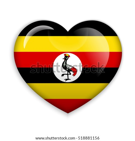 Love Uganda. Flag Heart Glossy Button