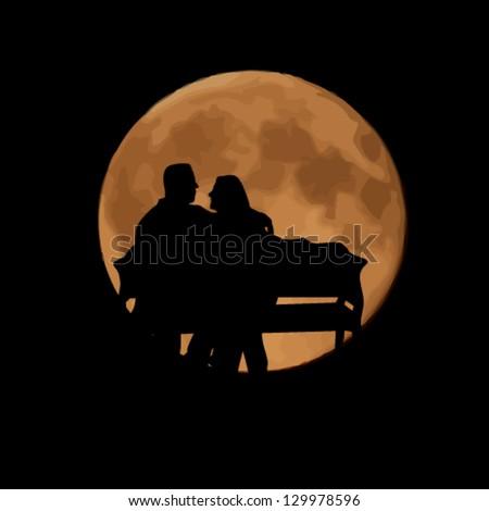love under the moon - stock vector