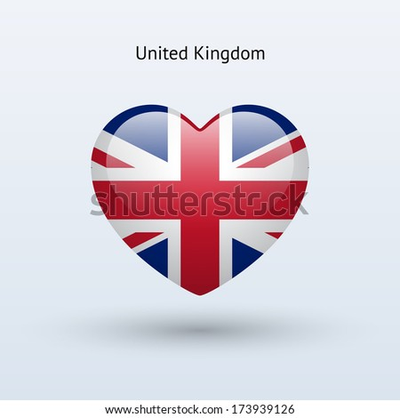 Love United Kingdom symbol. Heart flag icon. Vector illustration. - stock vector