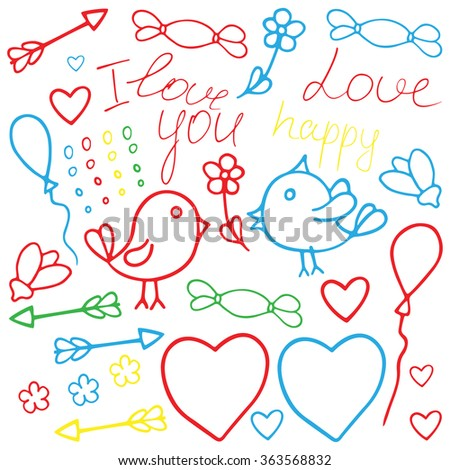 Love Valentine art. Romantic hand drawn clipart with birds. Fantasy cartoon, doodle vector set with hearts. Children's painting (drawings) clip art - stock vector