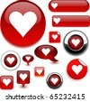 Love vector glossy icons. - stock vector