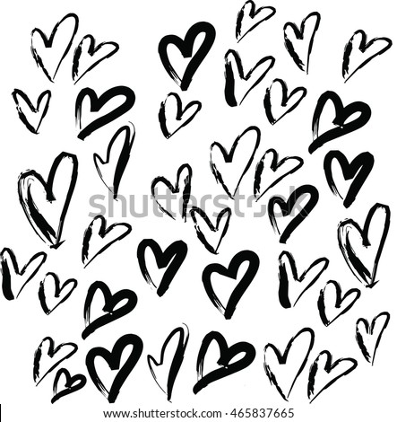 Love Vector Pattern Black And White Sketch Draw