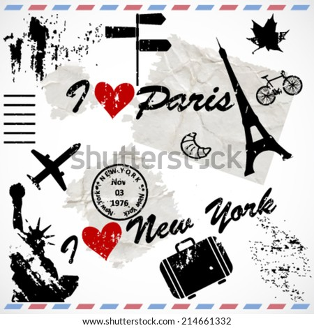love vector romantic postcard with collection of black vintage (retro) silhouettes, (icons) - stock vector