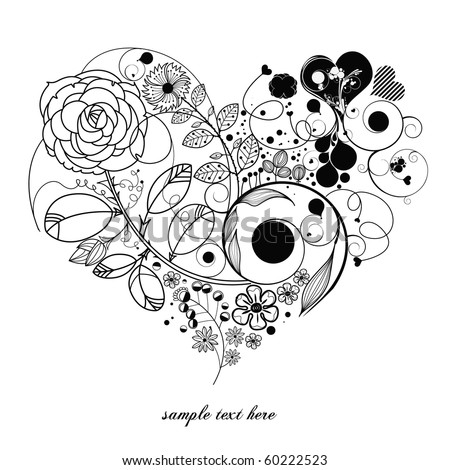 love-vintage flower - stock vector